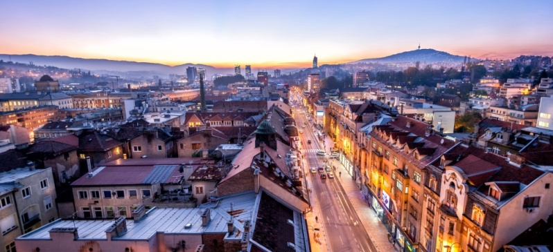 View at Sarajevo streets from above at dusk
